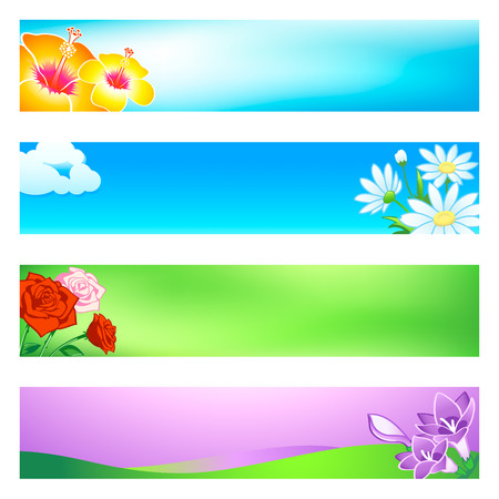Blossoming flower banner or header 4-color backgrounds set. Vector