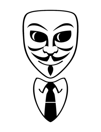 unknown men: Anonymous male mask and formal office suit isolated Illustration
