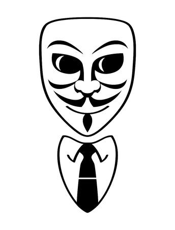 Maschera maschio anonimo e abito formale ufficio isolato