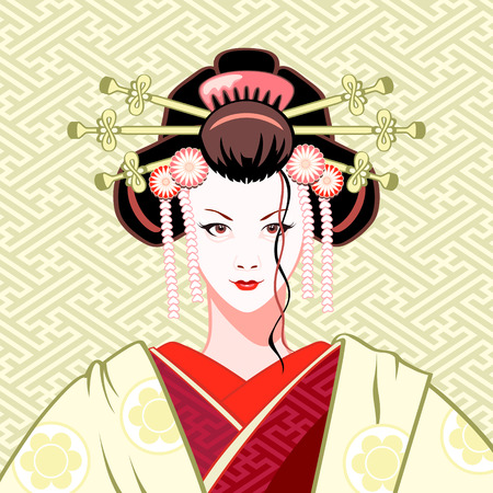 white fan:  Modern attractive geisha portrait in green-red colors  Illustration