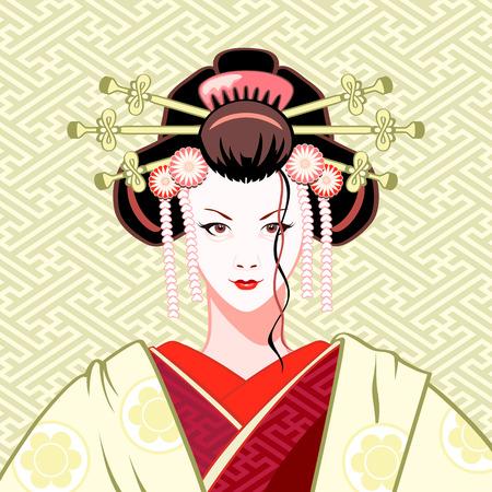 kimono: Retrato de geisha atractivo moderno en colores verde y rojo