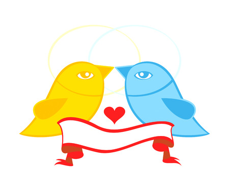 Valentine or wedding card symbol - birds in love with banner Stock Vector - 7724596