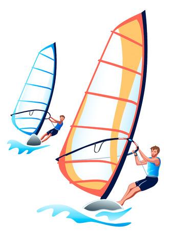 Ein paar der Windsurfer am Wettbewerb