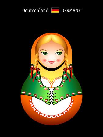 Matryoshkas of the World: german girl in beer barmaid dress Vector