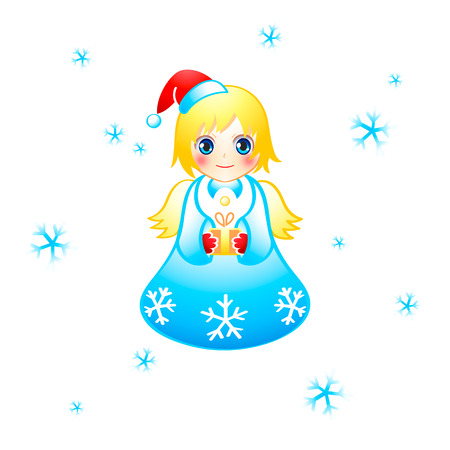 Flying cute Christmas angel with the special gift Stock Vector - 7724602