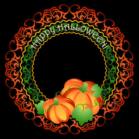 carved letters: Decorated pumpkins medallion frame for Halloween party