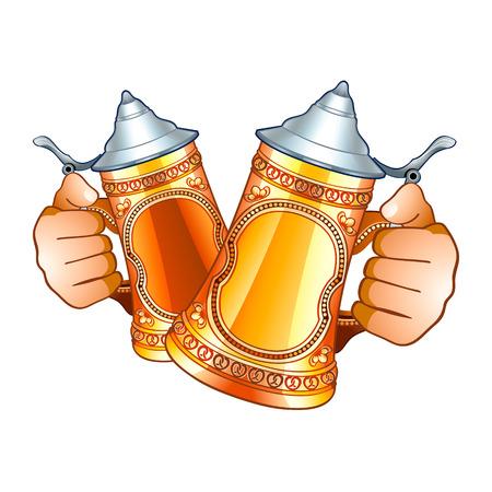 chope biere: Mains humaines avec d�cor� de bi�re steins isol�s