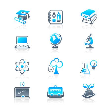 tubo de ensayo: Objetos de educaci�n escolar y universitaria; conjunto de iconos de vectores de herramientas y los s�mbolos de la ciencia.  Vectores