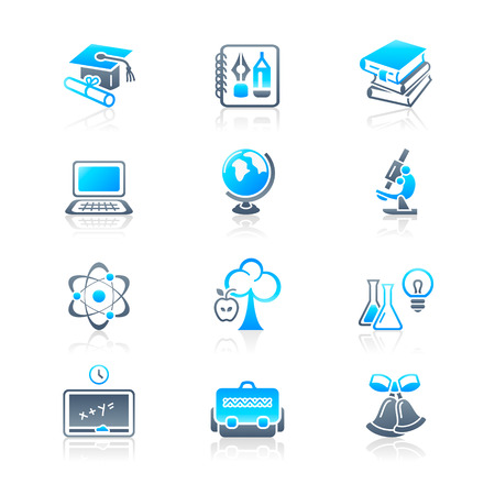 core: School and college education objects; tools and science symbols vector icon set. Illustration