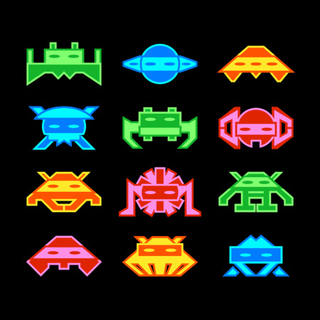 arcade: Custom designed space invaders similar to old arcade game Illustration