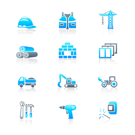 Construction tools, transportation, materials and more icon set Vector