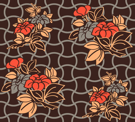 Seamless floral kimono pattern in warm night colors Vector