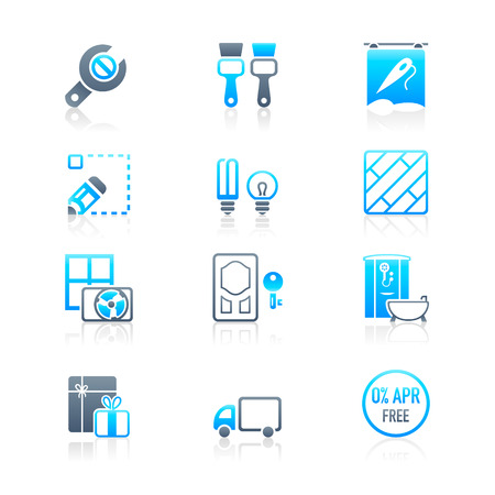 Home repair, remodelling, redecoration and shop services icon-set Stock Vector - 7877018