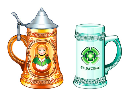 german girl: Decorated beer steins for Oktoberfest and St.Patricks day