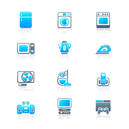 playstation: Modern home electronics icon set in blue-gray colors