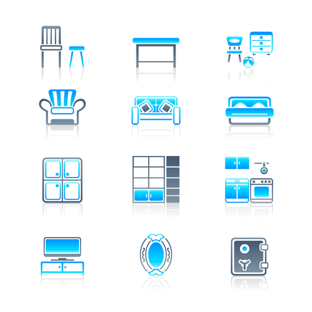 Modern home furniture icon set in blue-gray colors Stock Vector - 8001932