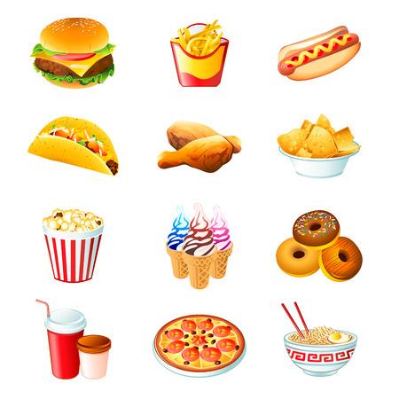 tortilla de maiz: Iconos coloridos con las comidas de la comida r�pida aisladas