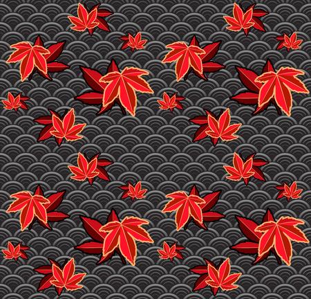 Seamless momiji (maple) japanese pattern Stock Vector - 8001931
