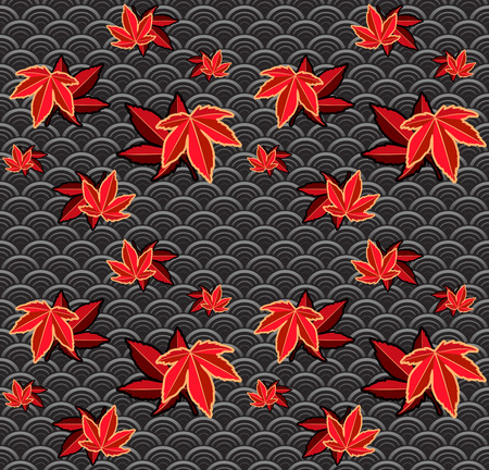 geisha kimono: Seamless momiji (maple) japanese pattern Illustration