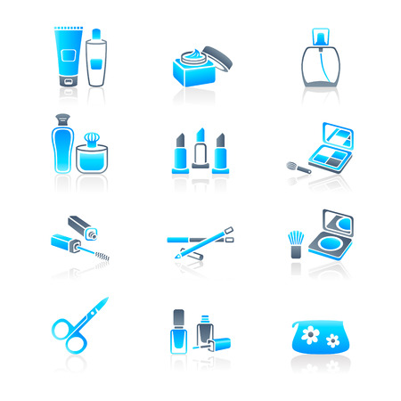vanity: Cosmetics, visage, make-up containers and tools icon-set