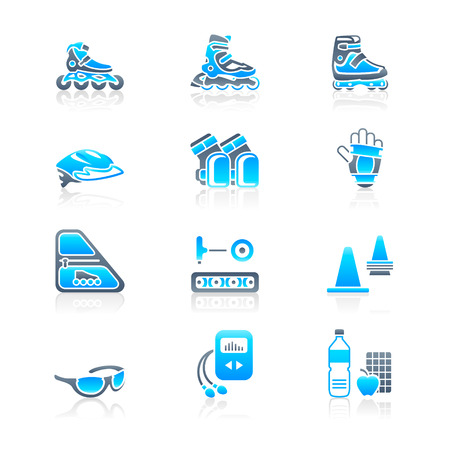 Inline skating boots, protection, accessories and related objects icon-set Stock Vector - 8001936