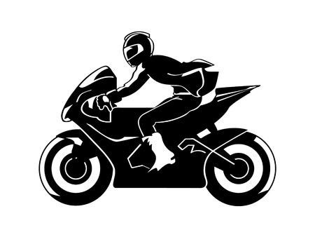 Speedy motorbiker silhouette isolated Vector