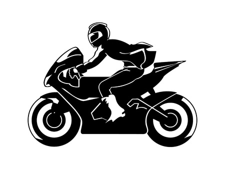 motorcycle rider: Speedy motorbiker silhouette isolated