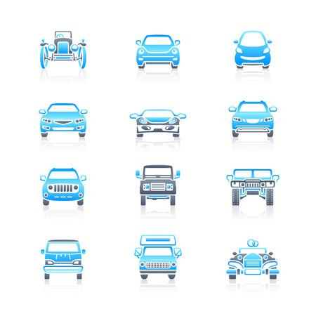 silueta coche: Conjunto de iconos de la vista frontal de coches modernos y vintage en azul gris  Vectores