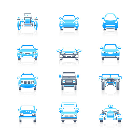 offroad car: Modern and vintage cars front view icon-set in blue-gray