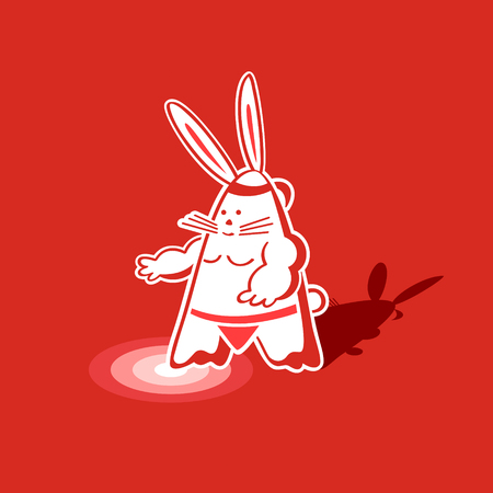 Mighty sumo rabbit warrior ready to step into the ring Vector