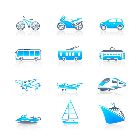 tramway: Modern and vintage vehicles icon-set in blue-gray Illustration