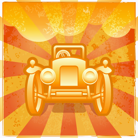 Grunge retro poster with old-school car over sunrise Stock Vector - 8142260