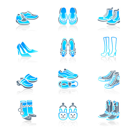 Collection of typical casual, sport and fashion footwear for all seasons Vector
