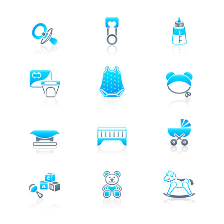 Newborn and first years baby objects icon-set in blue-gray Vector