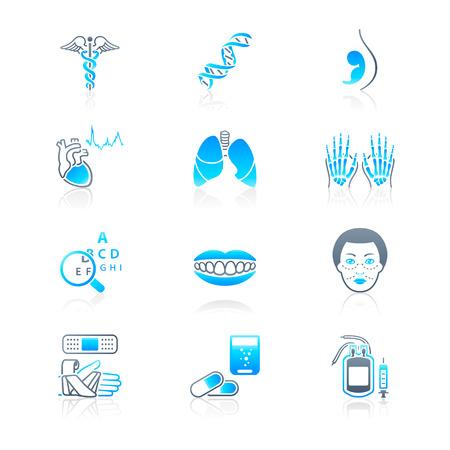 ligotage: Symboles m�dicaux, les sp�cialit�s, les organes humains et les objets de soins de sant� Illustration