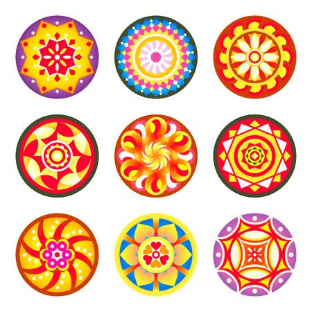 Indian flower carpet patterns (pookalams) for Onam festival Vektorové ilustrace