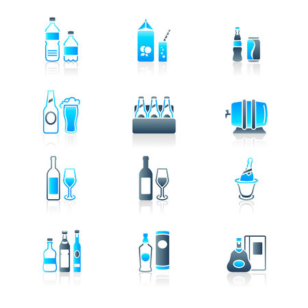 carbonated: Traditional non- and alcoholic drinks icon-set in blue-gray Illustration