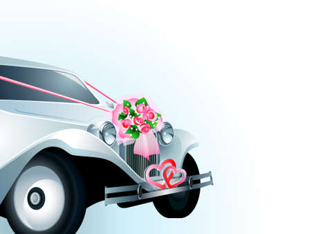 Wedding car decorated with bridal bouquet and ribbons Stock Vector - 8294066