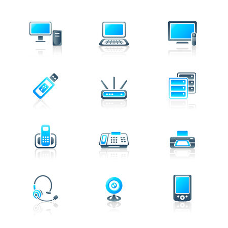 Modern office electronics icon-set in blue-gray colors Vector