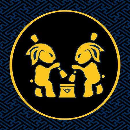 making: Japanese moon rabbits making mochi (rice cakes) by mortal and pestle