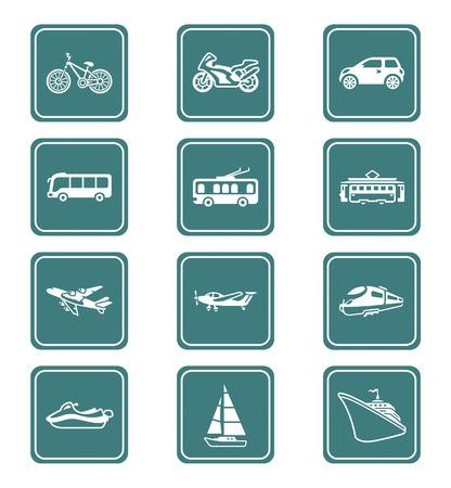 streetcar: Contorno de veh�culos modernos y vintage teal conjunto de iconos