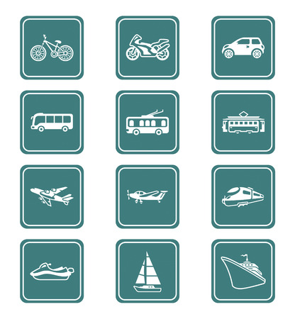 streetcar: Modern and vintage vehicles teal contour icon-set Illustration
