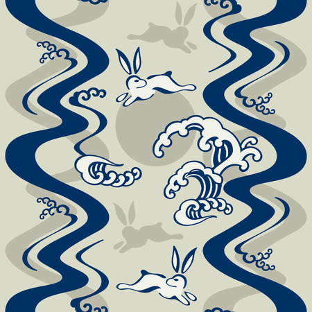 Seamless japanese pattern with moon rabbits and ocean waves Vector