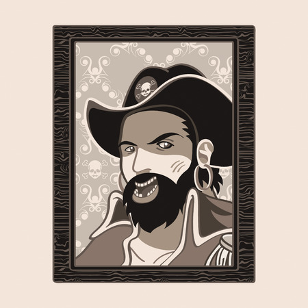 Jolly Roger pirate portrait in wood frame Stock Vector - 8426785