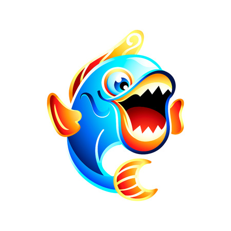 fish tail: Colorful jumping funny fish with big mouth open