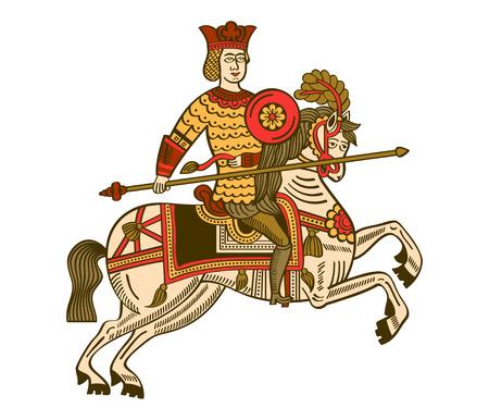 cavaliere medievale: Folk lubok russo disegno del potente cavaliere a cavallo