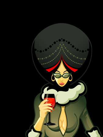 Sexy gangster woman with red wine glass Stock Vector - 8548002