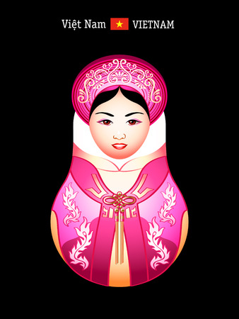 Matryoshkas of the World: vietnamese girl in ao dai dress Stock Vector - 8567773
