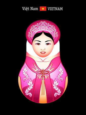 matryoshkas: Referencias del mundo: ni�a vietnamita en vestido de ao dai Vectores