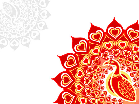 red indian: Peacock love card horizontal over white background Illustration